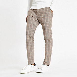 Pantalon skinny à carreaux marron clair