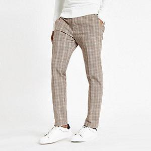 Lichtbruine geruite skinny-fit broek