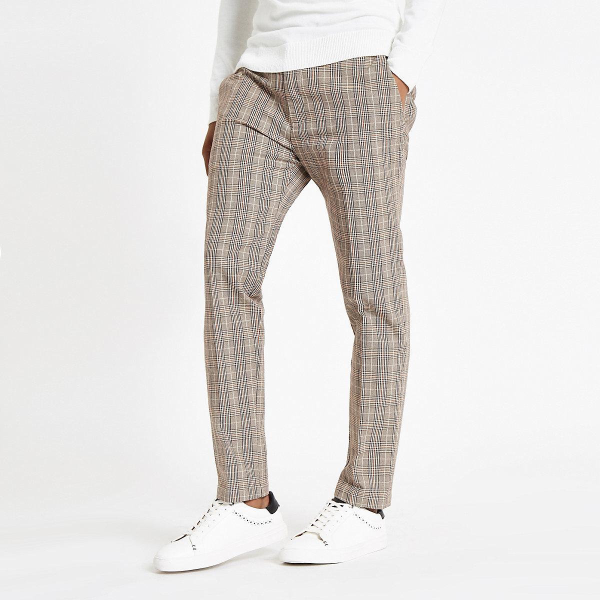 Light brown check skinny fit pants