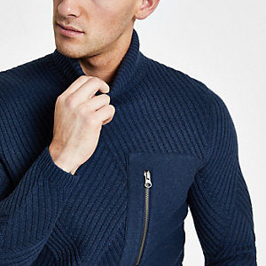 Only & Sons navy pocket roll neck jumper
