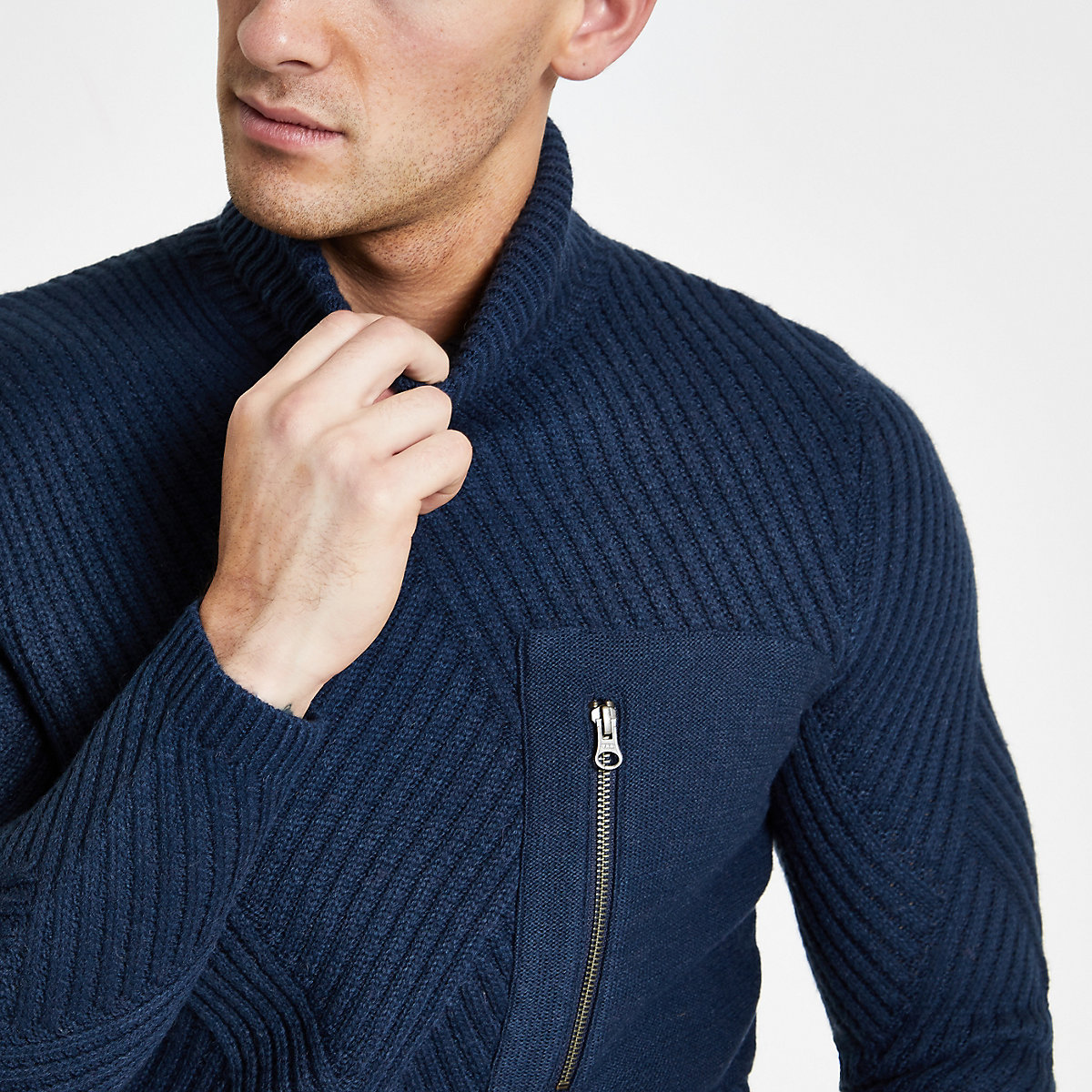 Only & Sons navy pocket roll neck jumper