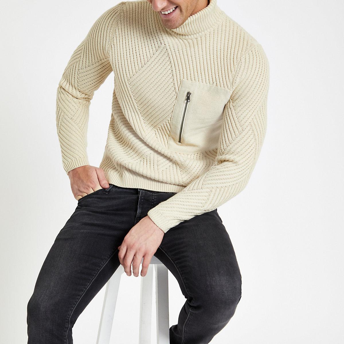 Only & Sons beige pocket roll neck jumper