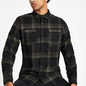 Only & Sons green check long sleeve shirt