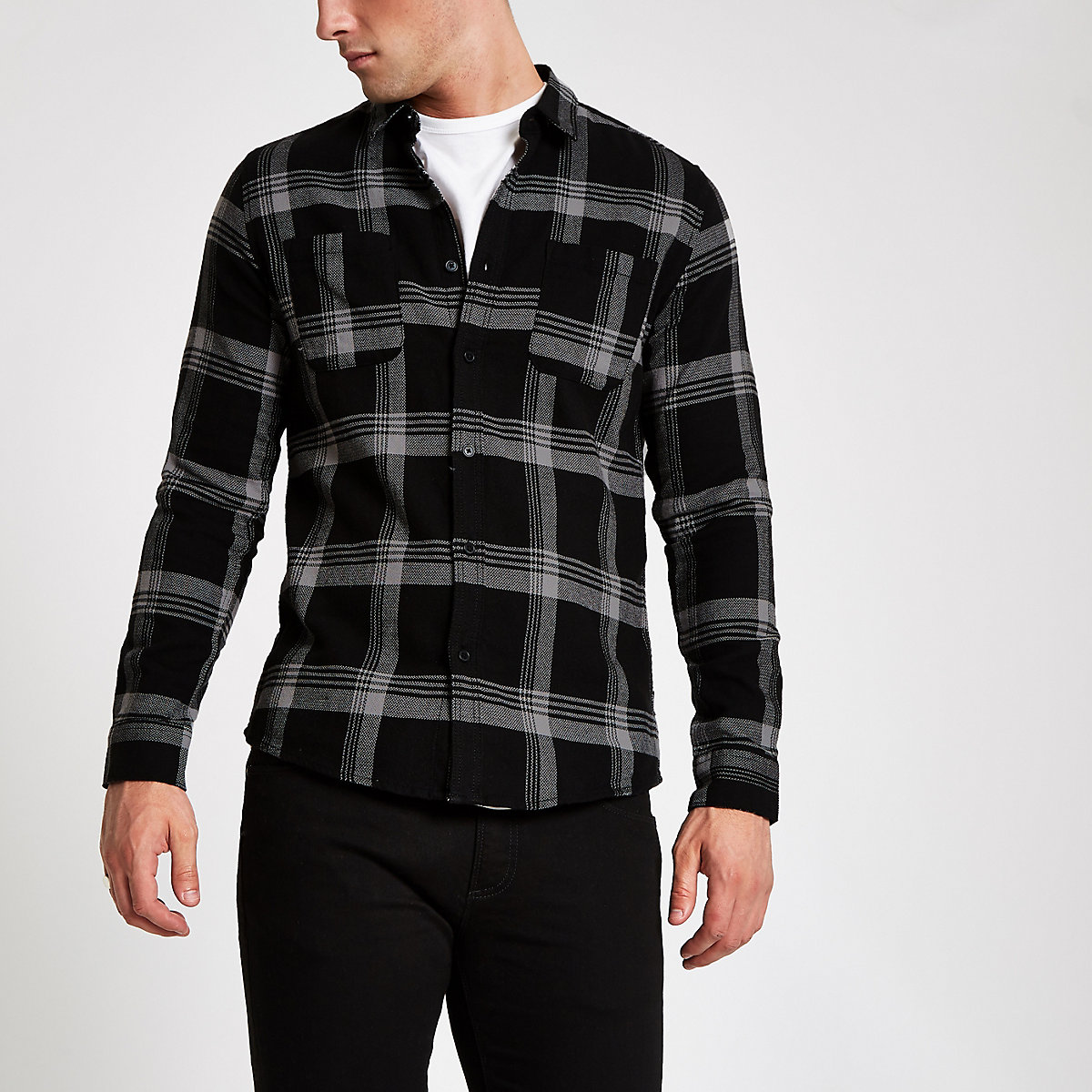 Only & Sons grey check long sleeve shirt