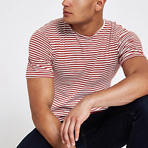 Only & Sons red stripe T-shirt