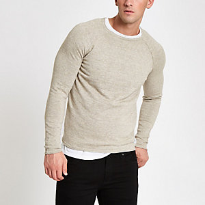 Only & Sons – Pull en maille grège à manches raglan