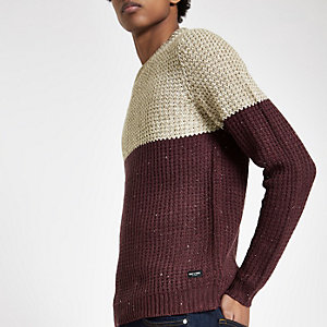 Only & Sons burgundy knit blocked jumper