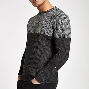 Only & Sons grey knit blocked jumper