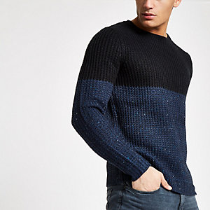 Only & Sons – Pull en maille bleu marine colour block
