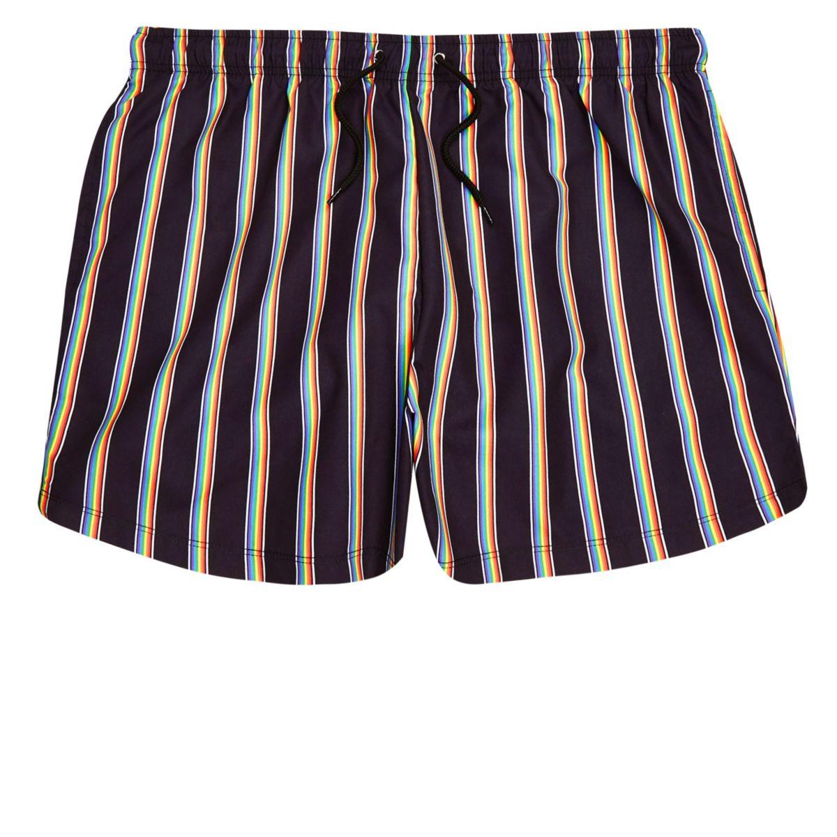 Black Pride rainbow print swim shorts