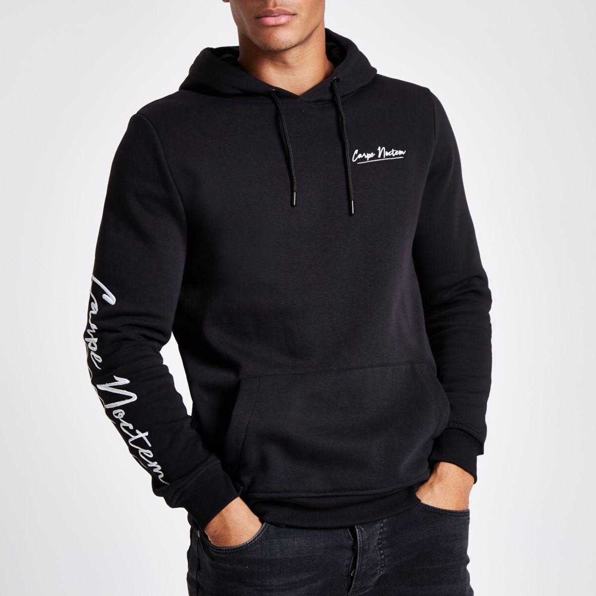 Black 'carpe noctem' muscle fit hoodie