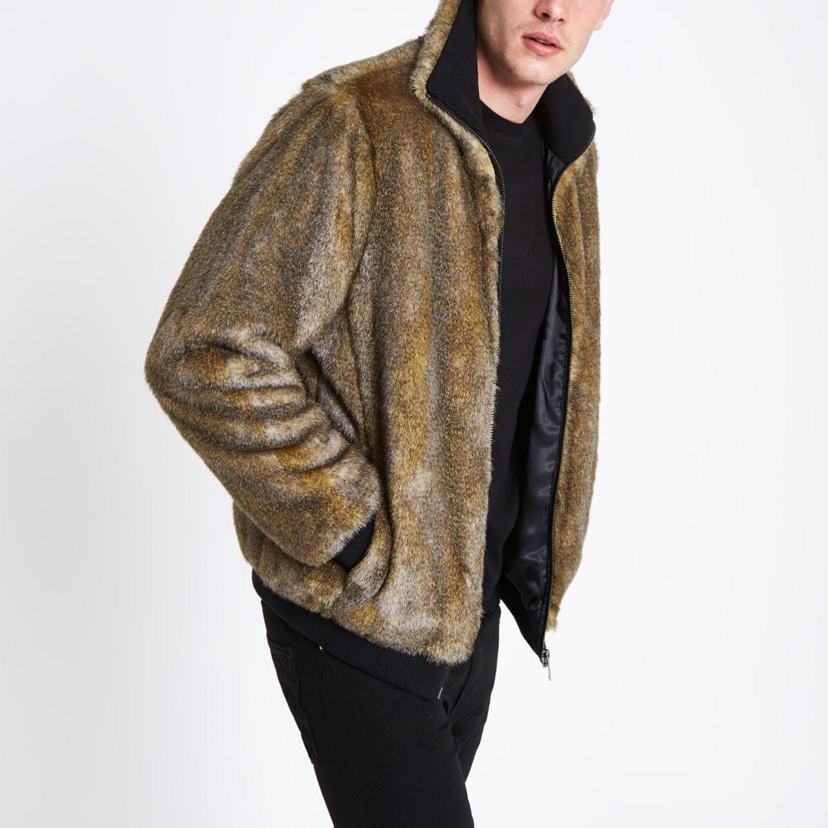 Brown faux fur zip front jacket