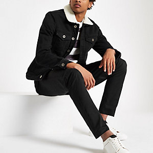 Black fleece lined denim jacket