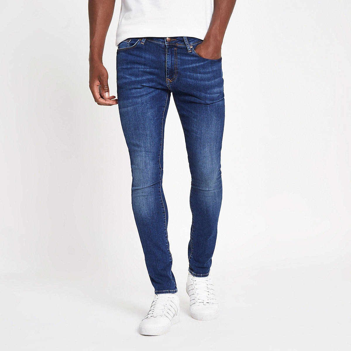 Mid blue plain super skinny jeans