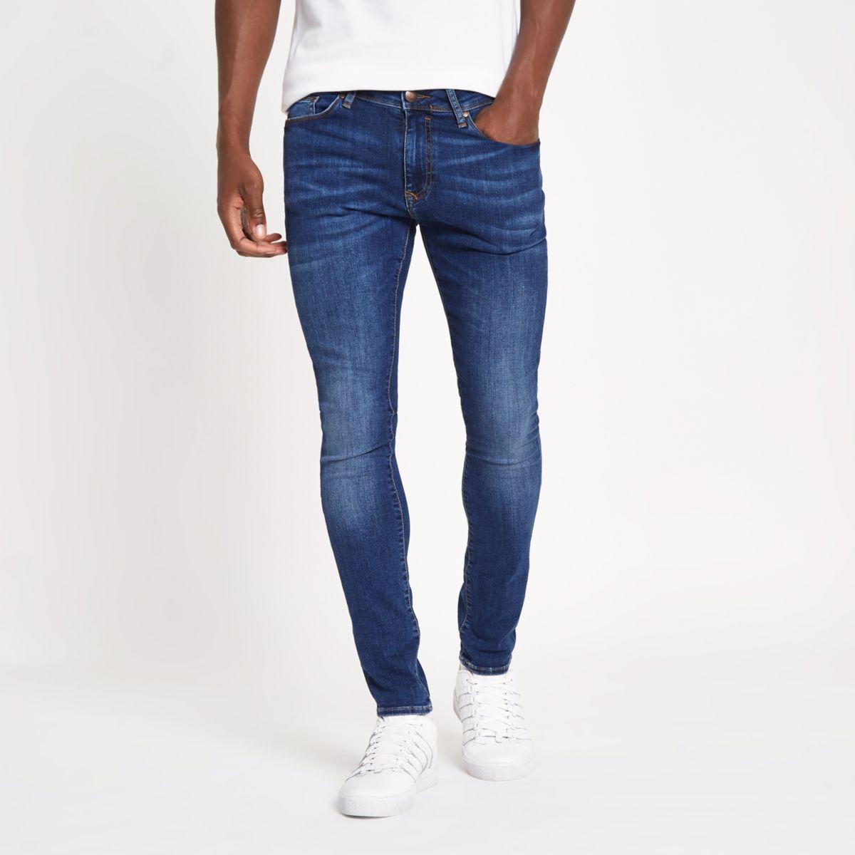 Mid blue plain super skinny jeans