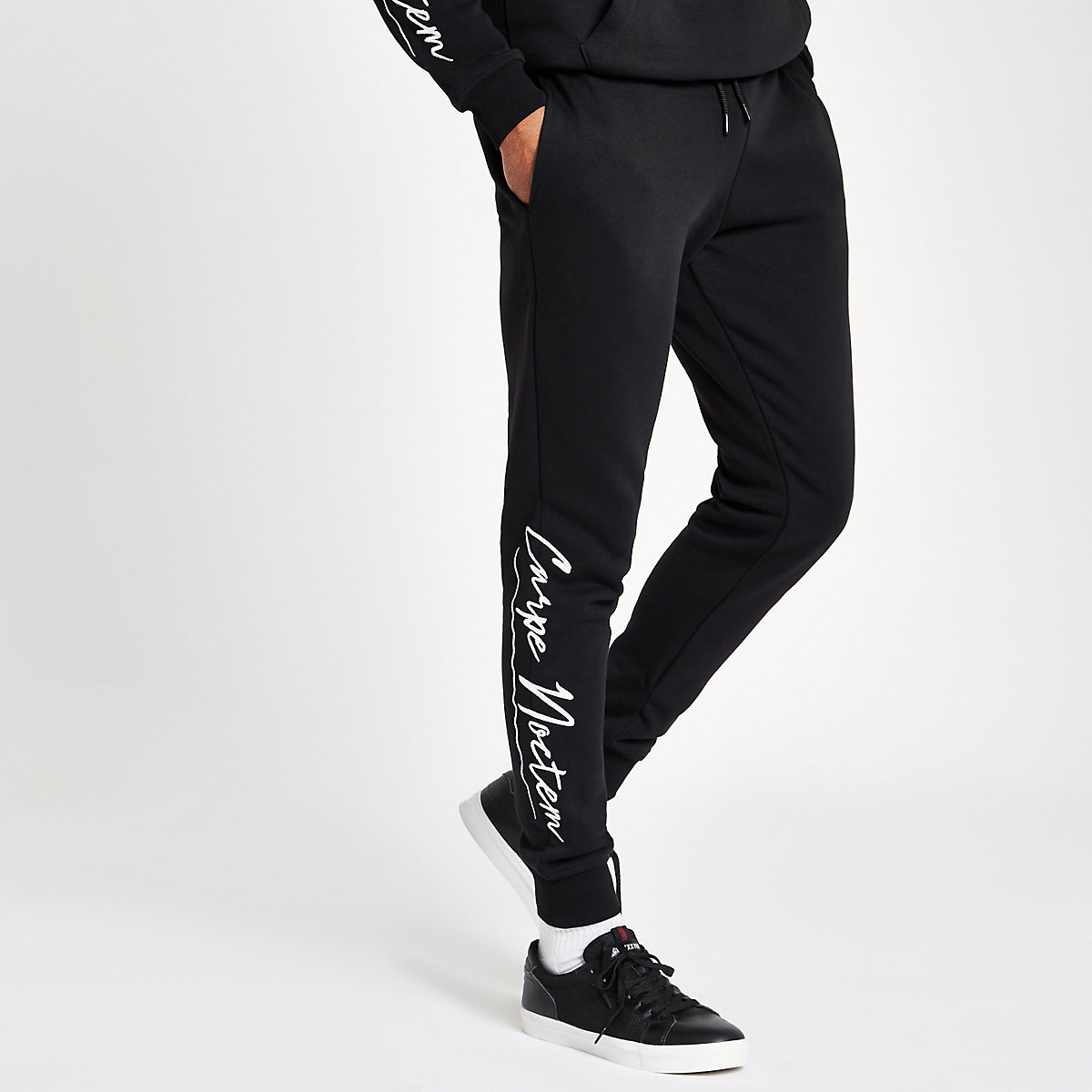 Black 'carpe noctem' joggers
