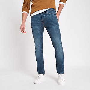 Dylan - Blauwe slim-fit distressed jeans