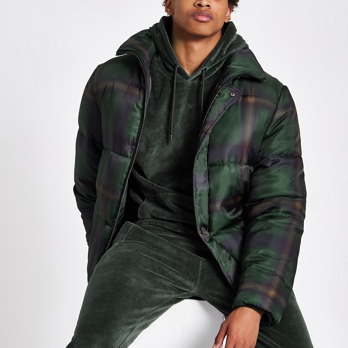 Green check funnel neck puffer jacket