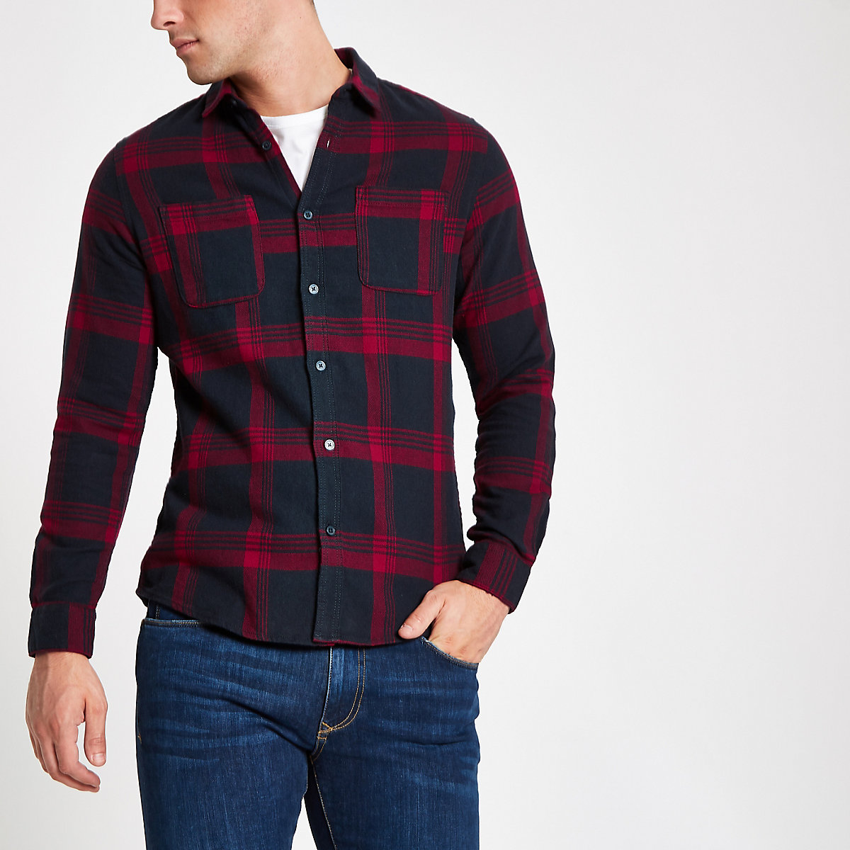 Only & Sons purple check long sleeve shirt