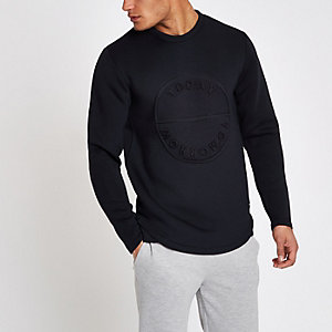 Only & Sons navy embossed sweatshirt