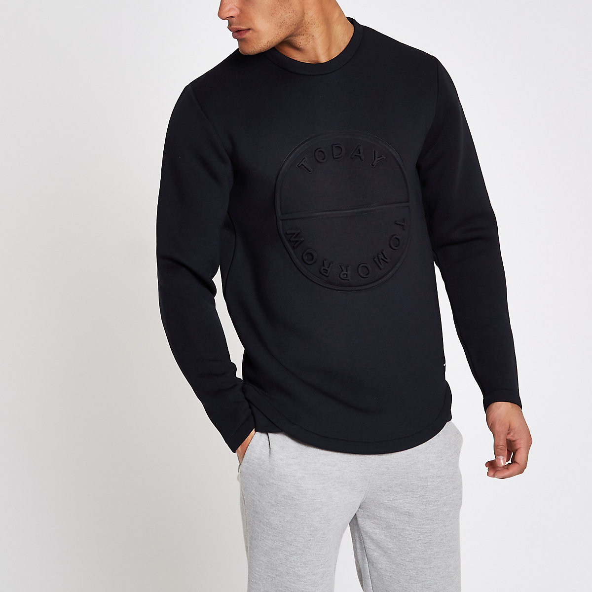 Only & Sons navy embossed sweatshirt