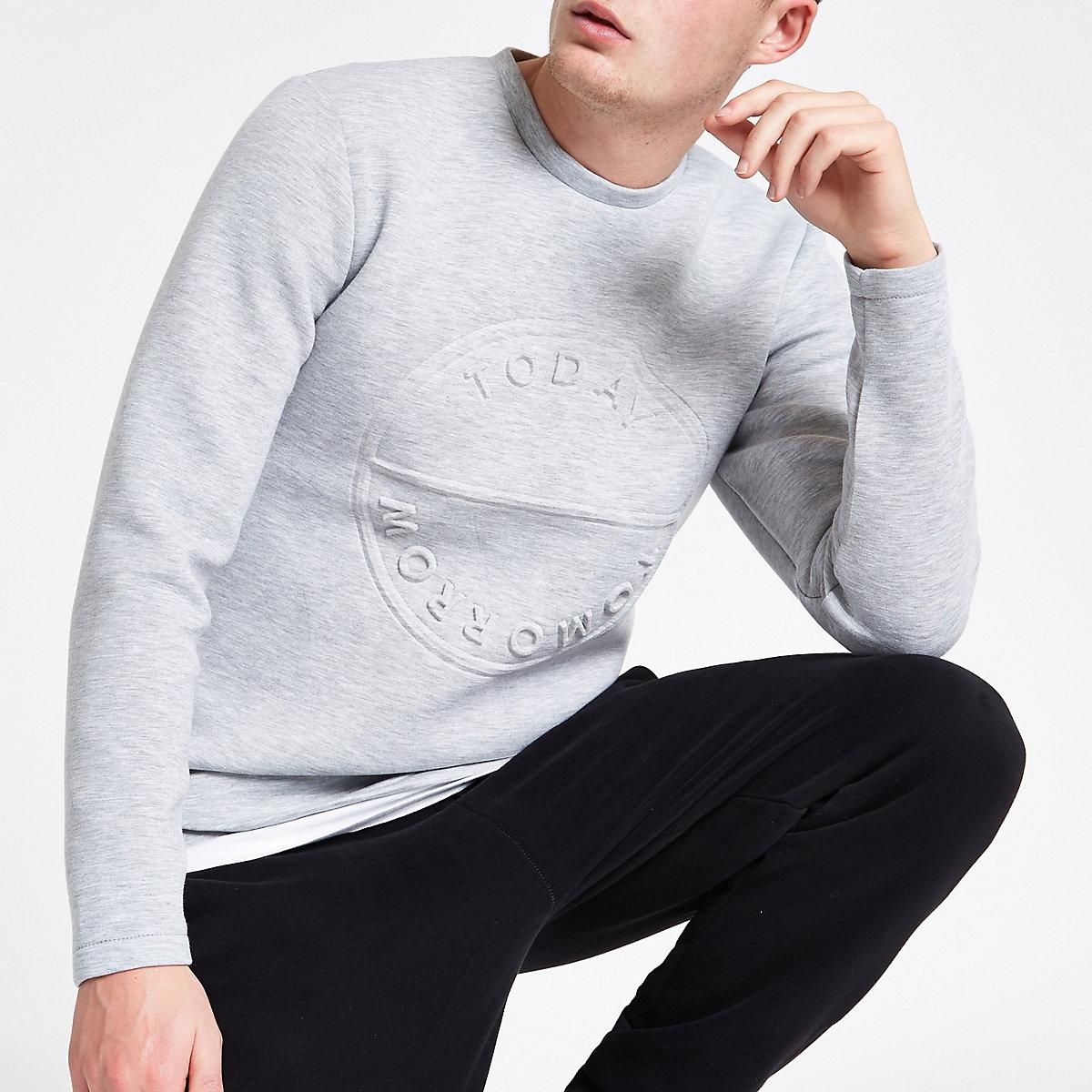 Only & Sons grey embossed sweatshirt