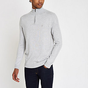 Grauer Slim Fit Pullover mit Tunnelkragen