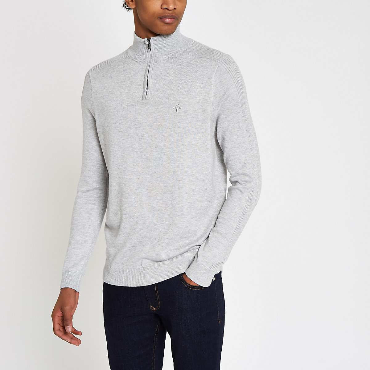 Grey slim fit funnel neck zip up sweater