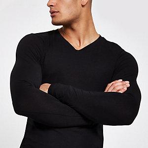 Zwart aansluitend T-shirt met V-hals
