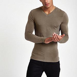 Taupe aansluitend T-shirt met V-hals