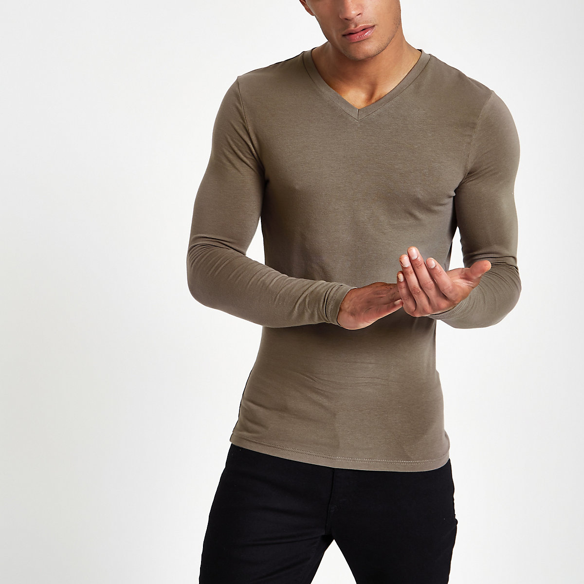 Taupe v neck muscle fit T-shirt