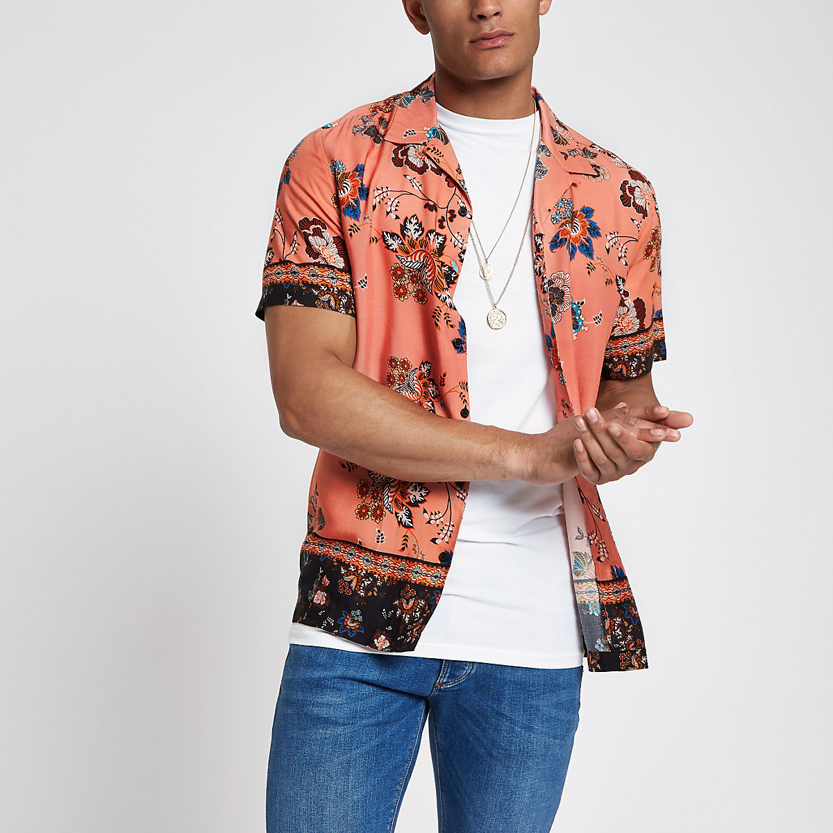 Pink printed revere short sleeve shirt