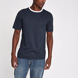 Marineblauw slim-fit T-shirt met contrasterende zoom