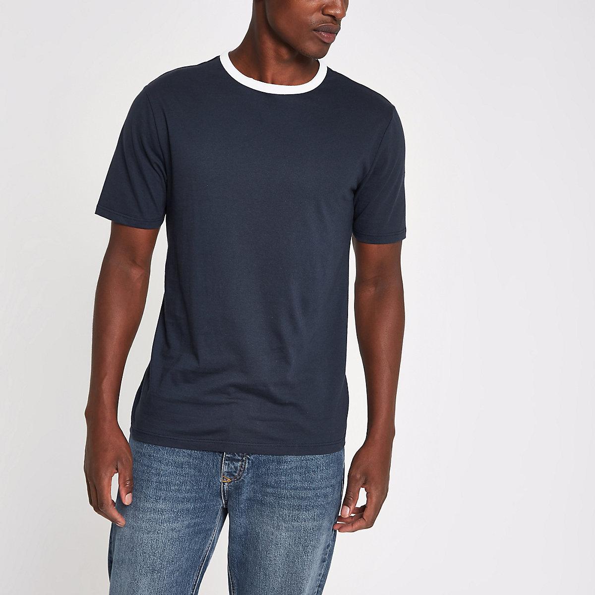 Navy slim fit contrast trim T-shirt