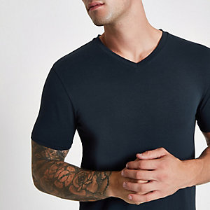 Marineblauw aansluitend T-shirt met V-hals