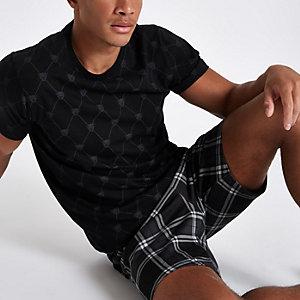 Zwarte geruite pyjamaset met panterprint