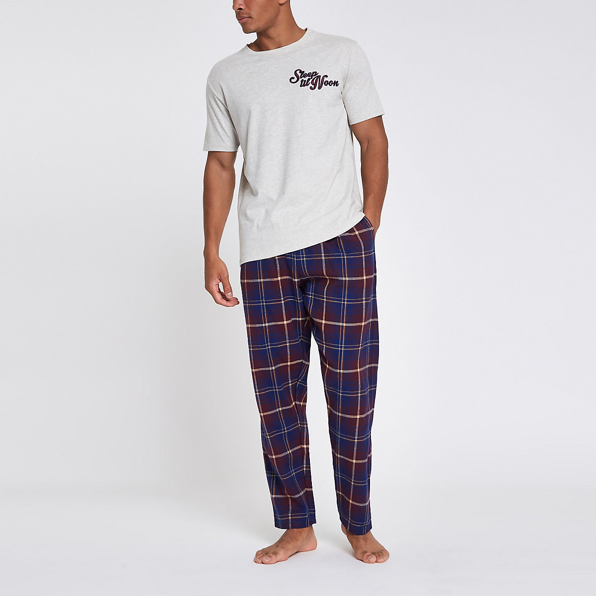 Grey 'sleep til noon' plaid check pajama set