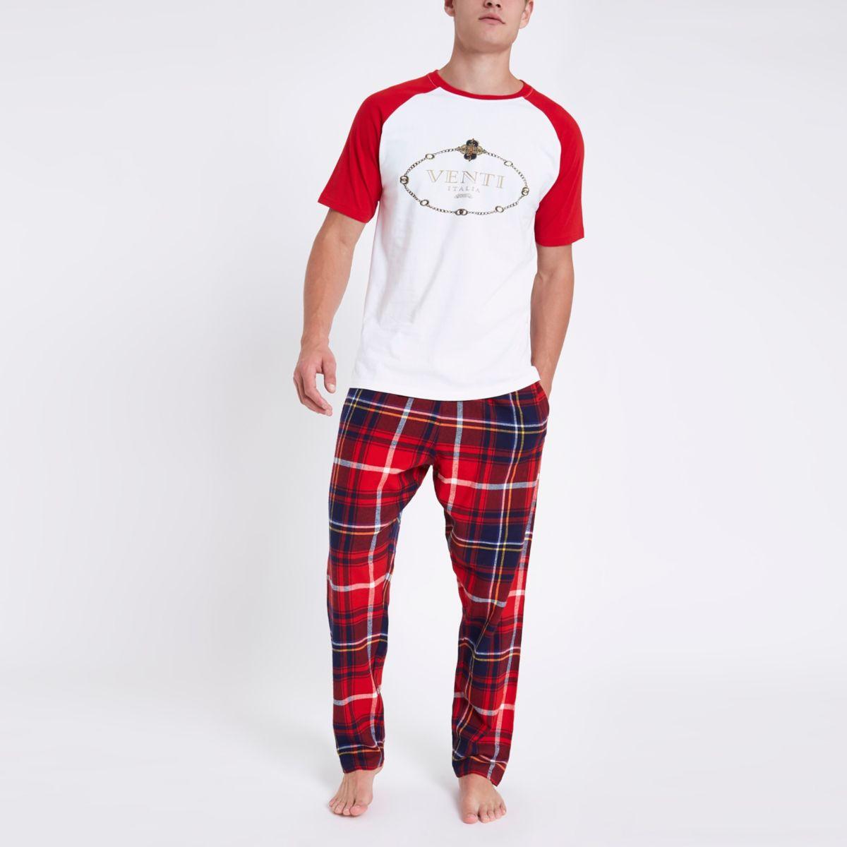 Red 'Venti' plaid check pajama set
