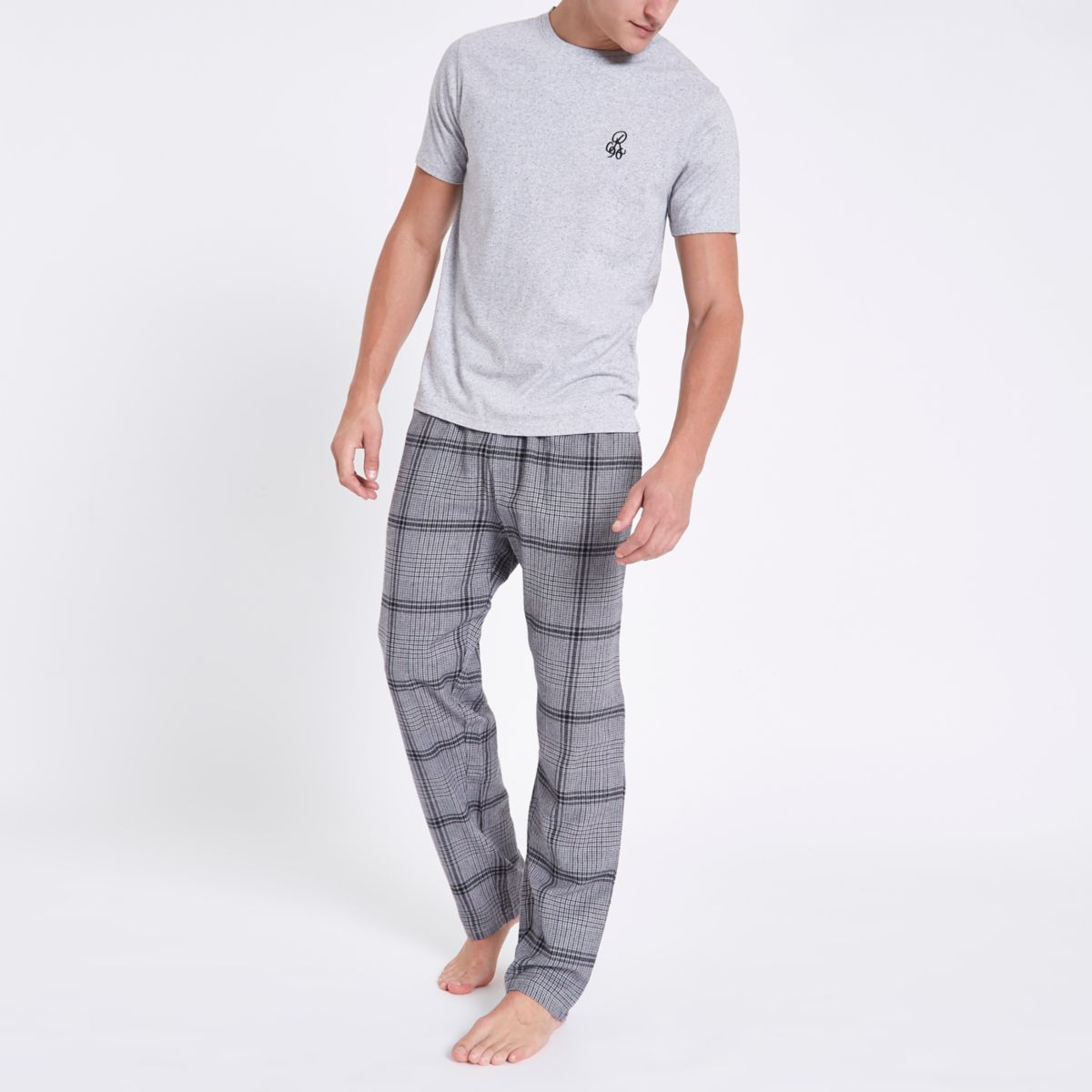 Grey RI embroidered check pajama set