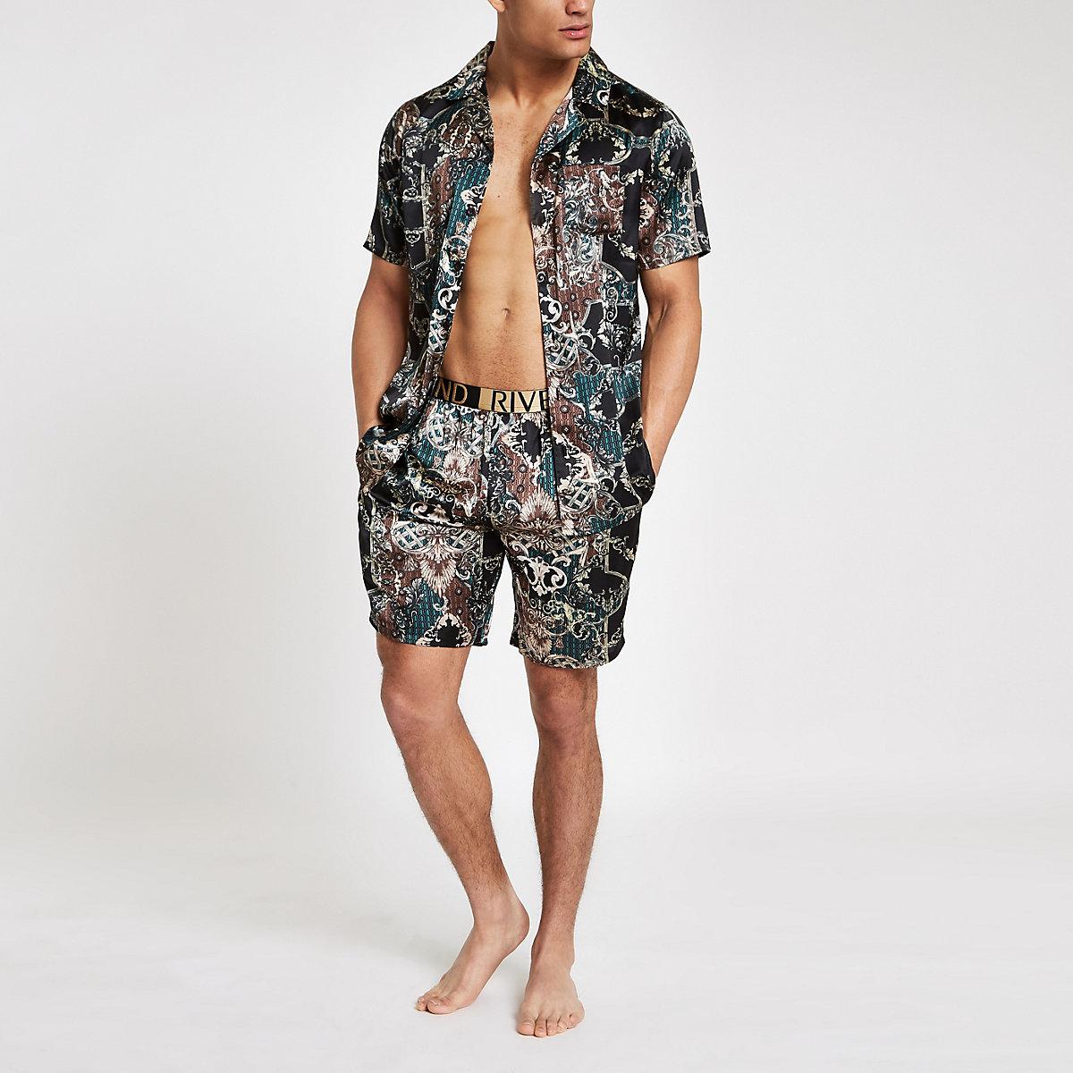 Green sateen baroque print pajama shorts set