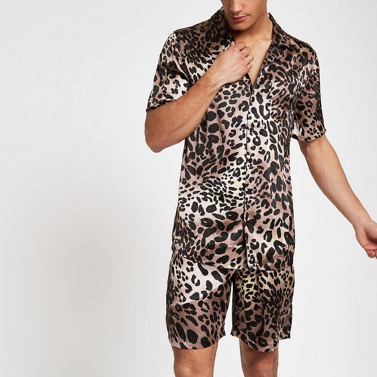 Brown sateen leopard print pyjama set