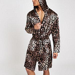 Brauner Satin-Bademantel mit Leoparden-Print