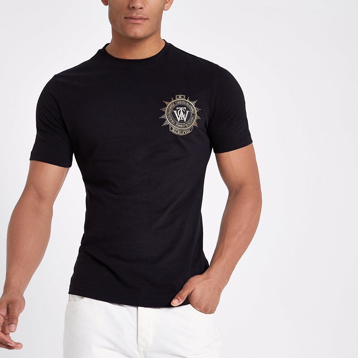 Black slim fit embroidered badge T-shirt