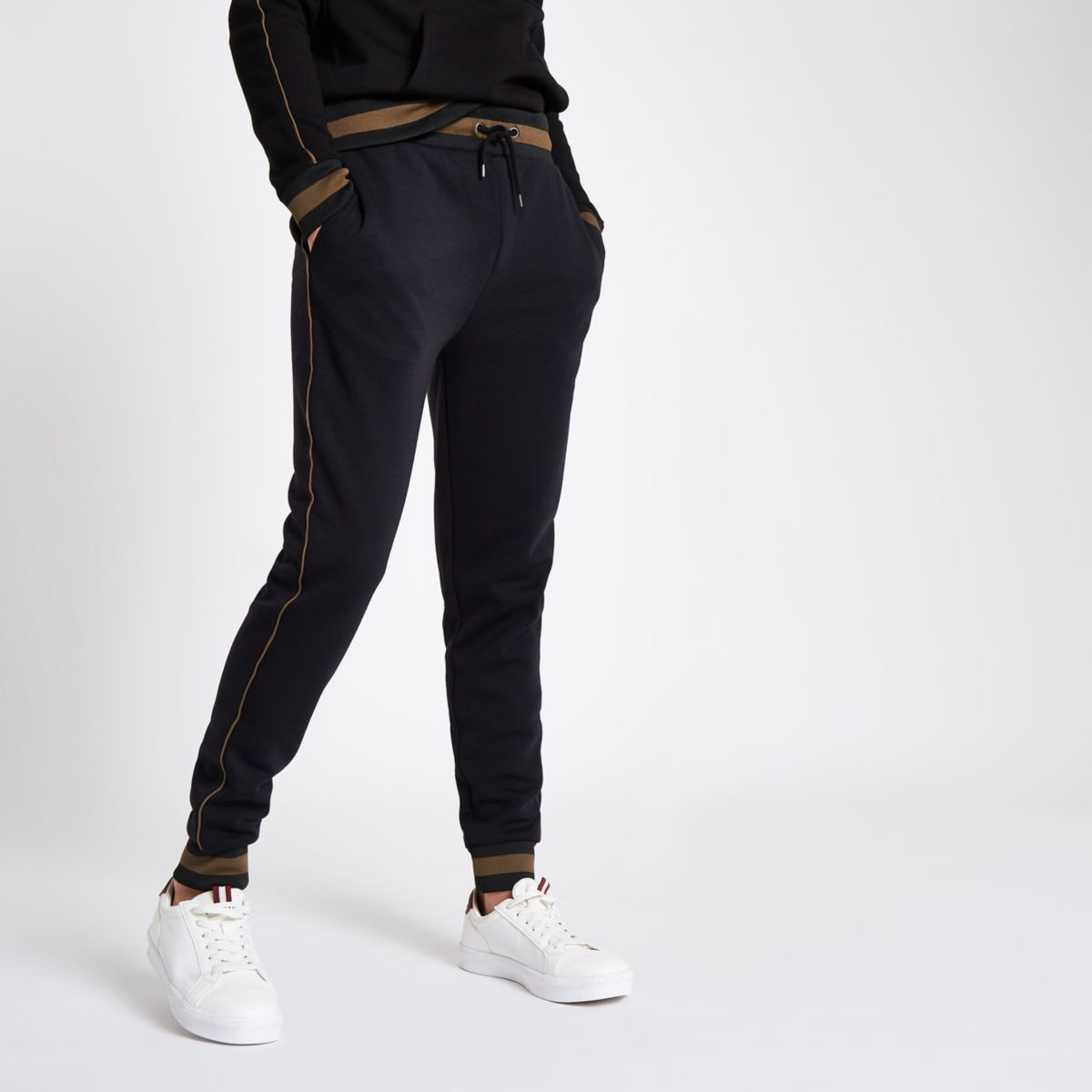 Black slim fit tipped and piped joggers