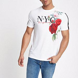 Weißes, geblümtes Slim Fit T-Shirt