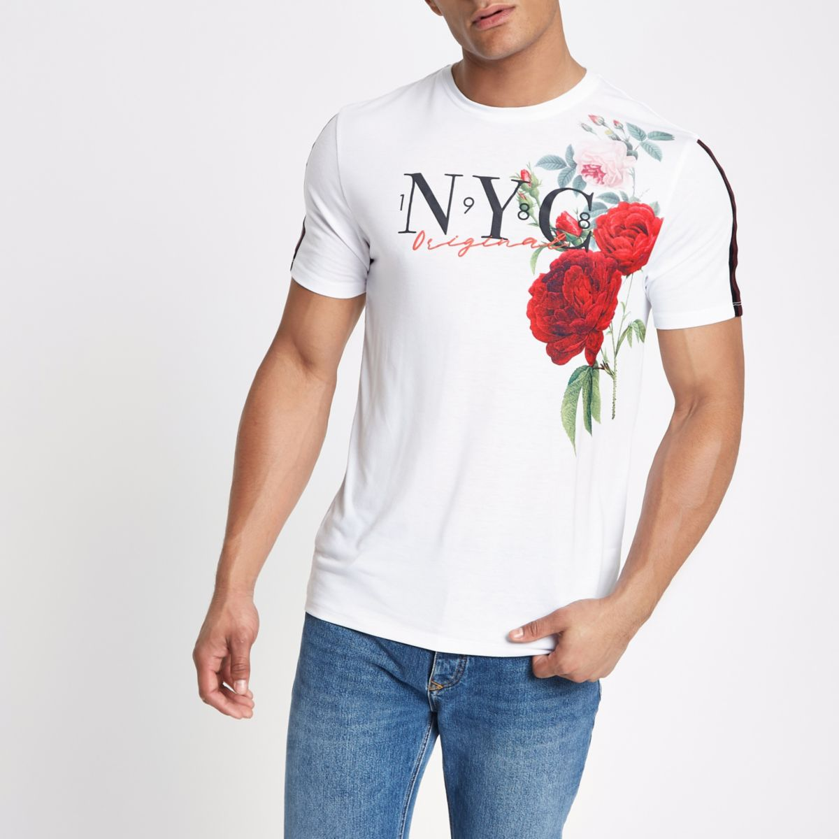 White floral slim fit tape T-shirt