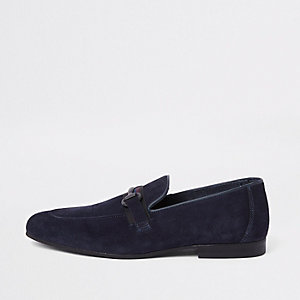 Navy suede tape suede slim loafer