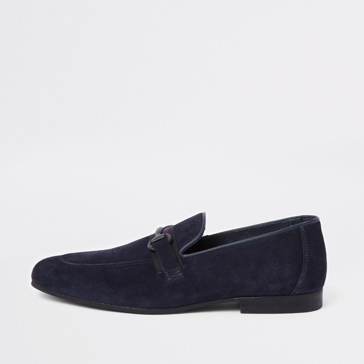 River Island Mens Navy suede tape suede slim loafer MAPzfs5nj2