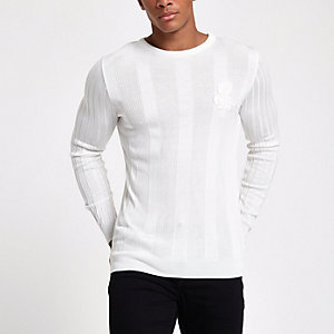 White rib muscle fit long sleeve jumper