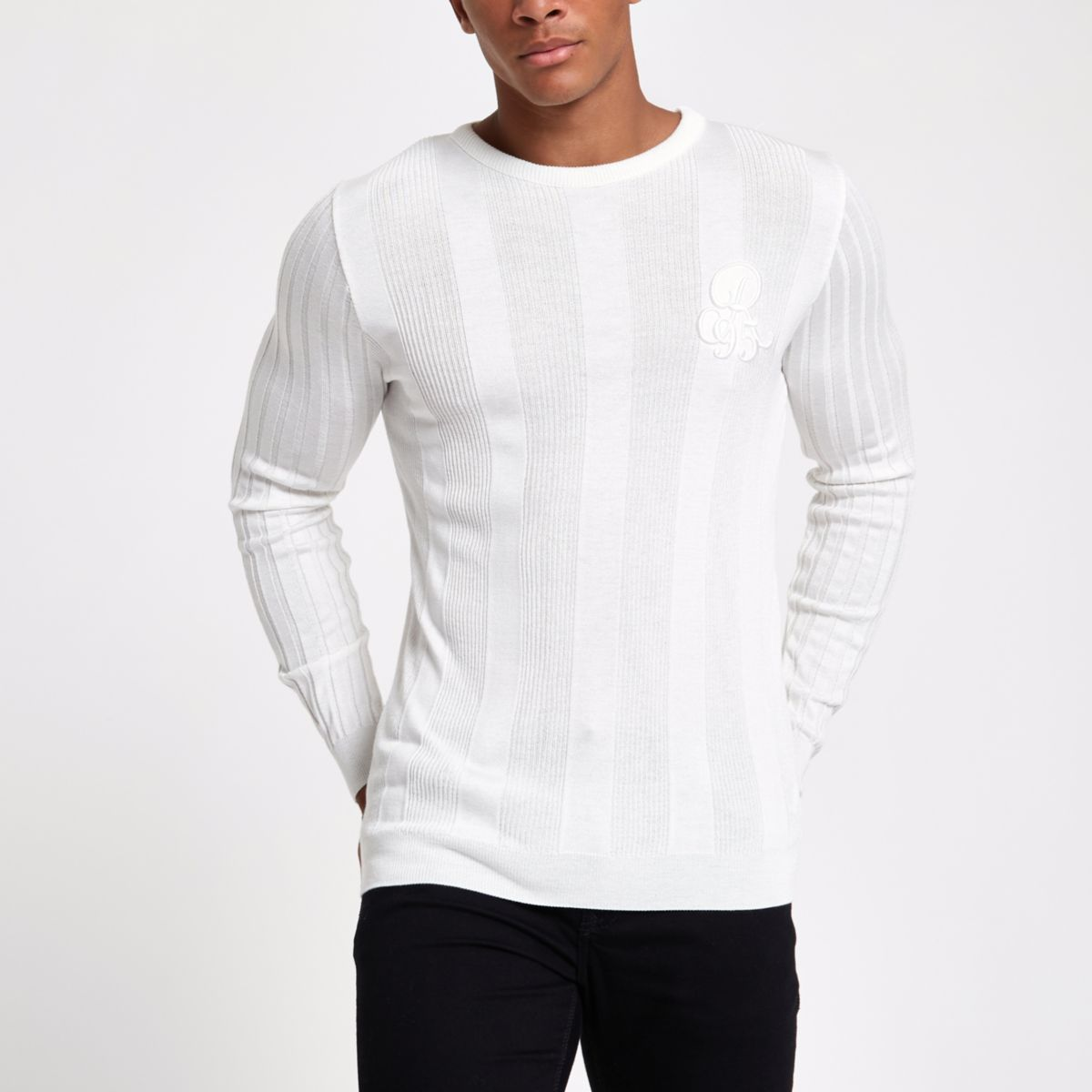 White rib muscle fit long sleeve sweater